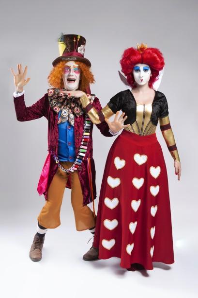 Luiz Prada e Luciana Mozzini como Chapeleiro Maluco e Rainha Vermelha. CRÉDITO: ALINNE VOLPATO/DIVULGAÇÃO